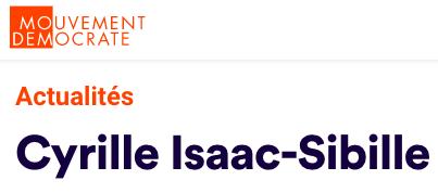 Mouvement Démocrate : «Cyrille Isaac-Sibille, député-médecin au front»