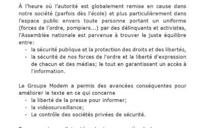 Adoption de la proposition de loi « sécurité globale »
